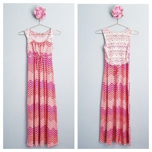 Speechless Pink Chevron Crochet Modest Maxi Dress